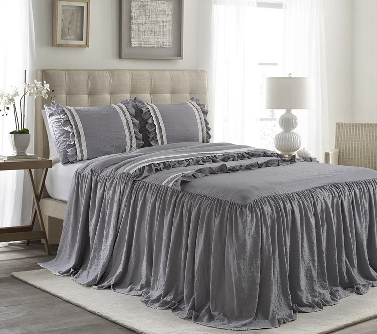 3 Piece Gray 30 inches Drop Ruffled Style Skirt Bedspread Set(EMMA)-Queen/King