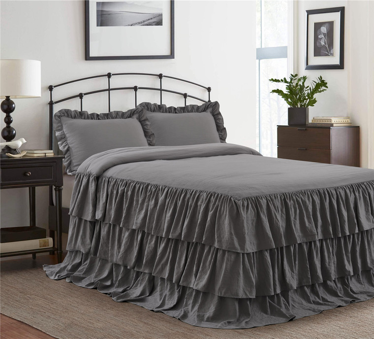 3 Piece Gray 30 inches Drop Ruffled Style Skirt Bedspread Set(ECHO)-Queen/King