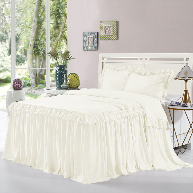3 Piece Ruffle Skirt Bedspread Set Queen King Size- 30 inches Drop Ruffled Style Bed Skirt Coverlets Bedspreads Dust Ruffles- ALINA Bedding Collections (Ivory Color)