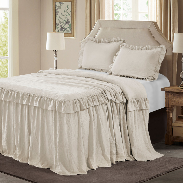 3 Piece Camel 30 inches Drop Ruffled Style Skirt Bedspread Set(Alina)-Queen/King
