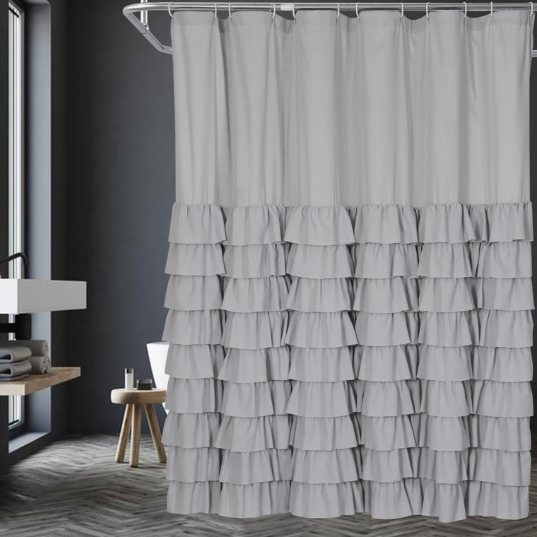 """Gray Handcrafted Waterfall Ruffle Bath Curtain - 72"""" x 72"""" Long - Shabby Chic Woven Polyester Fabric Cloth - 12 Piece Buttonholes - Rust Resistant & Easy to Install, Anti-Wrinkle, Non-fading(Arya)"""