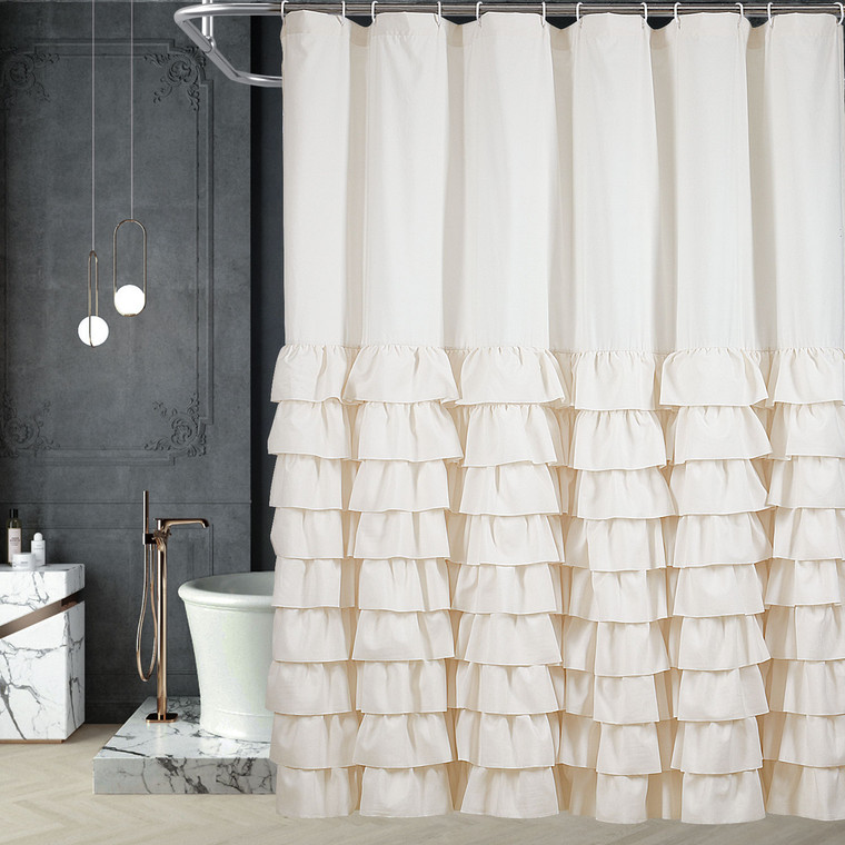 "Handsewn Overlapping Ruffles Shower Curtain Solid Ivory - 72"" W x 72"" H - 12 Eyelets Design - Rustproof & Non-Fading - Gypsy Mildew-Resistant Cloth/Farbric Bath Curtains - Anti-Wrinkle(Arya)"