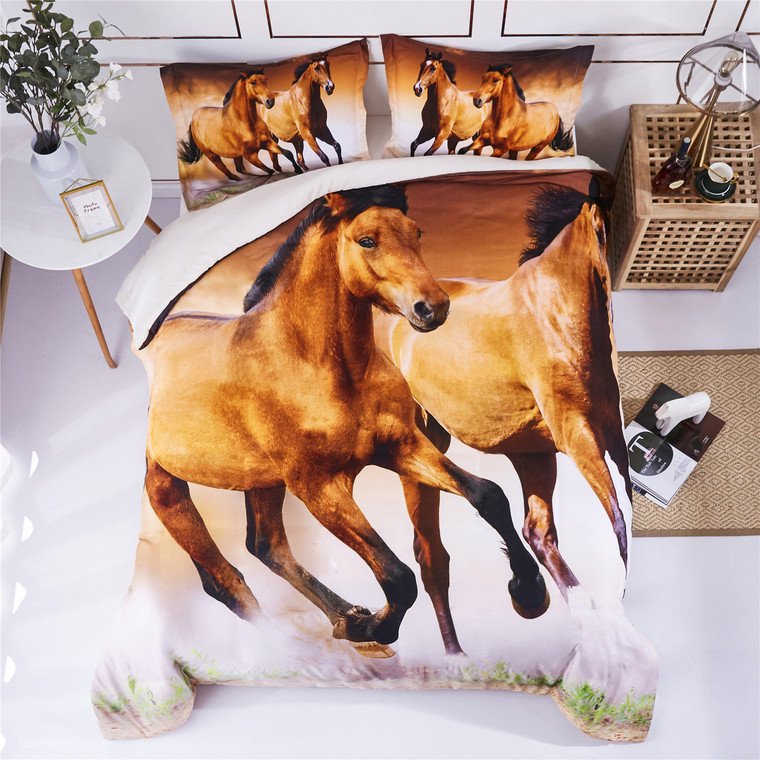 3D Bedding Set Running Steed Animal Print Duvet Cover with Matching Pillow Covers -Super Soft Duvet Cover -General for Men and Women Especially for Children (P29)