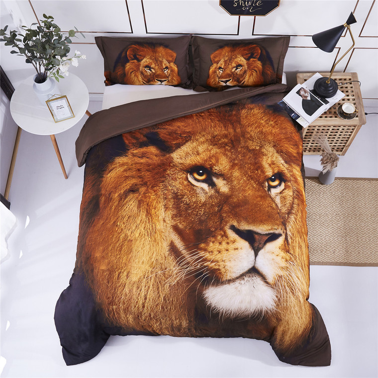3D Bedding Set Lion Head Animal Print Duvet Cover with Matching Pillow Covers -Super Soft Duvet Cover -General for Men and Women Especially for Children (P27)