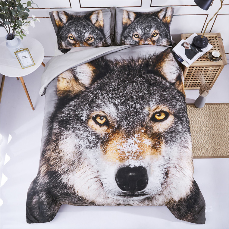 3D Bedding Set Wolf Head Animal Print Duvet Cover with Matching Pillow Covers -Super Soft Duvet Cover -General for Men and Women Especially for Children (P26)