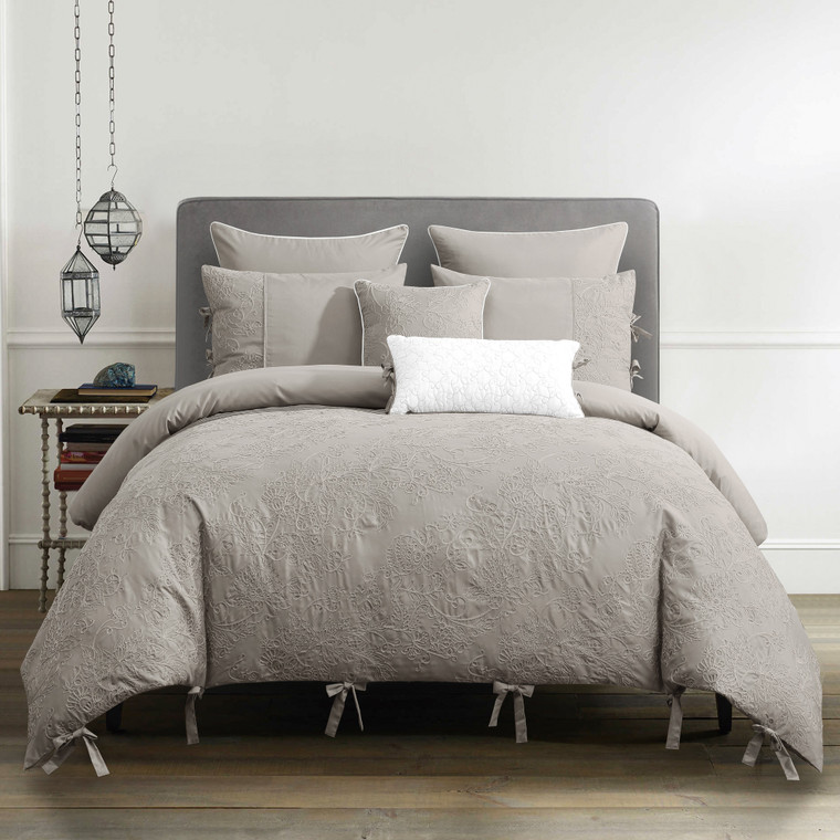 7 Piece Gray Embroidered Comforter Set - 100% Brushed Microfiber - Bed in A Bag Set with 2 Shams, Lightweight & Hypoallergenic, All Season Used(21958)