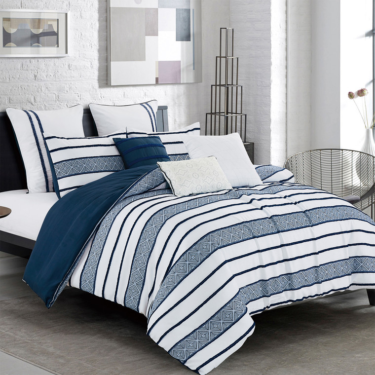 7 Piece Comforter Bedding Set Bed in A Bag - Navy clip Jacquard Fabric Bedroom Comforters (21986)