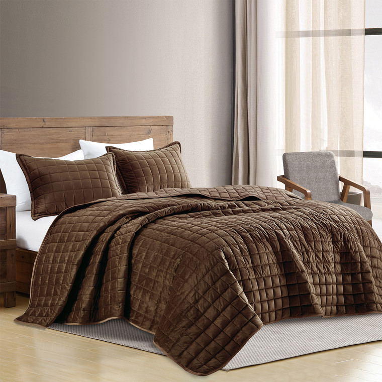 3 Piece Brown Modern Styly Velvet Quilted Quilt Set(22138)