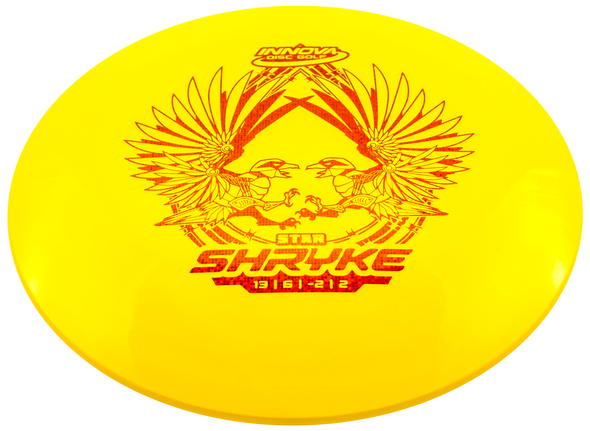 The Shryke is an easy to throw, very long range driver for a wide variety of players. A mild high speed turn puts the Shryke in glide mode, which along with its high aerodynamic speed, give it incredible distance. The low speed fade is also mild, which makes it easy to keep on the fairway. The Shryke is similar to our popular Tern but faster and slightly more high speed stable.
