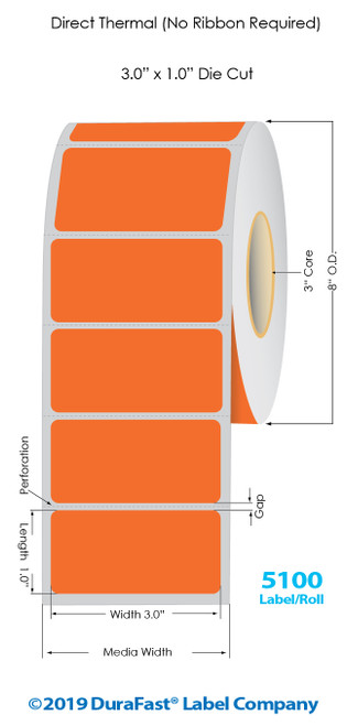 "Direct Thermal 3"" x 1"" Orange Floodcoated Labels 5100/Roll - 3"" Core 