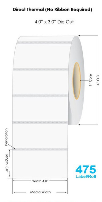 """White Direct Thermal 4"""" x 3"""" Name Tags 475/Roll - 1"""" Core 