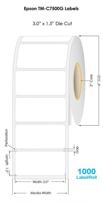 "Inkjet BC/20 3""x1.5"" Glossy BOPP Label 1,000/Roll 6"" OD/Wet Label App Adhesive (54041)"