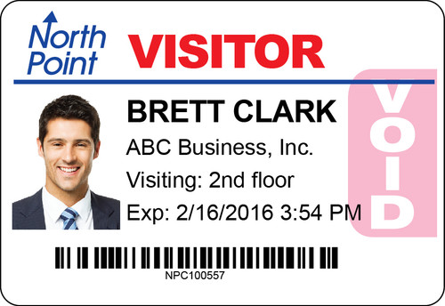 "VisitorPass 3""x2"" TAB Expiring LX400/LX500 Inkjet Name Badges"