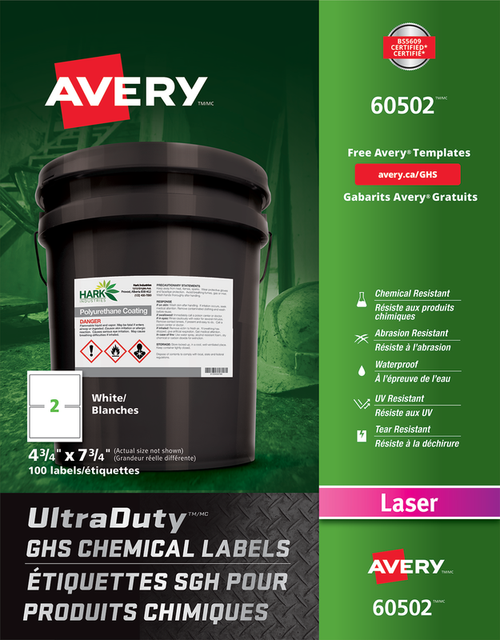 "Avery 60502 UltraDuty GHS Chemical Labels 4 3/4"" x 7 3/4"" Laser Label Sheet"