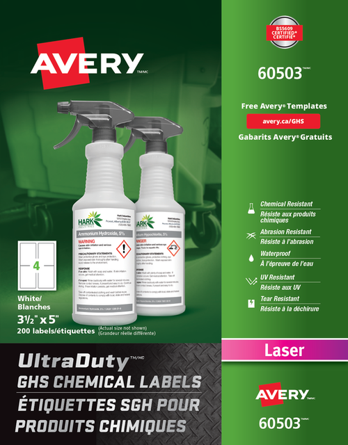 "Avery 60503 UltraDuty GHS Chemical Labels 3 1/2"" x 5"" Laser Label Sheet"