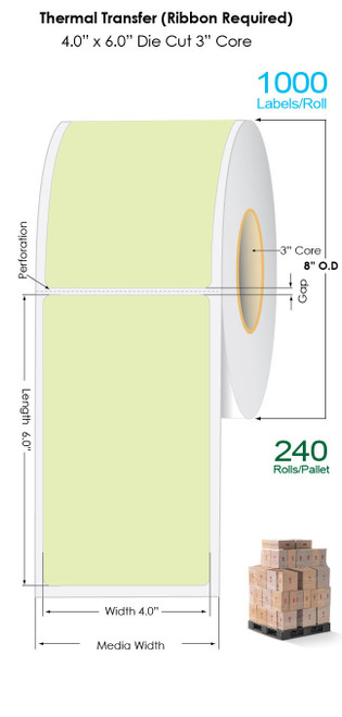 "Thermal Transfer 4"" x 6"" GREEN Matte Paper Labels 1000/Roll - 3"" Core 