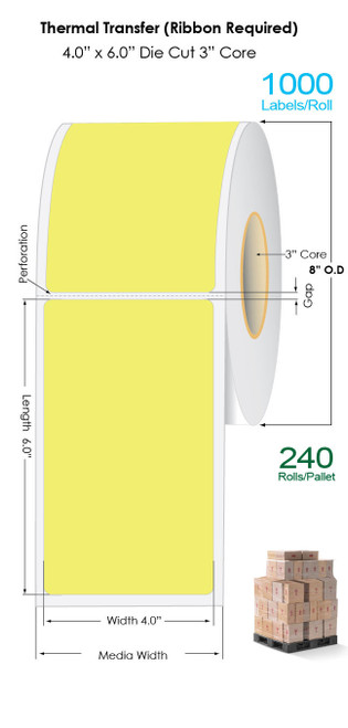 "Thermal Transfer 4"" x 6"" YELLOW Matte Paper Labels 1000/Roll - 3"" Core 