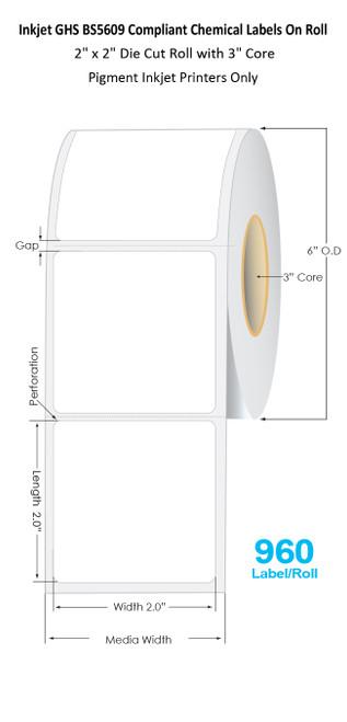 "C6500 2"" x 2"" Inkjet Chemical Die Cut Label Roll | 960/Roll | 3"" Core/6""OD"