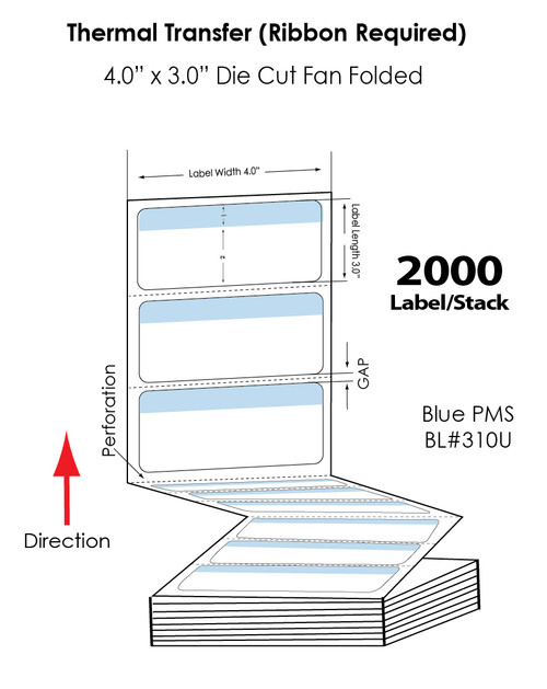 """Thermal Transfer 4"""" x 3"""" Blue/White Matte Paper Labels 2,000 FanFolded/Stack"""