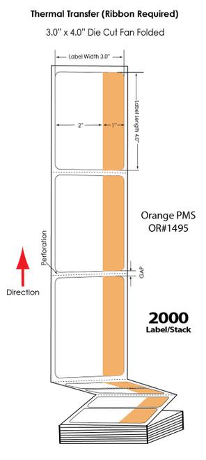 "Thermal Transfer 3"" x 4"" Orange/White Matte Paper Labels 2,000 FanFolded/Stack"