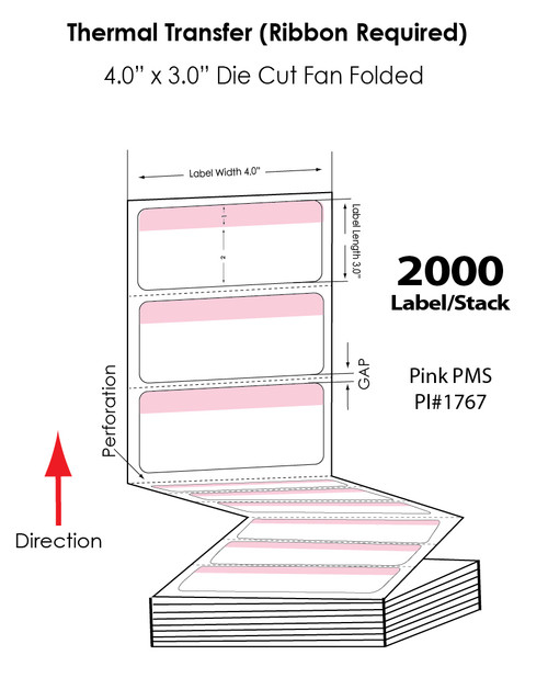 """Thermal Transfer 4"""" x 3"""" Pink/White Matte Paper Labels 2,000 FanFolded/Stack"""
