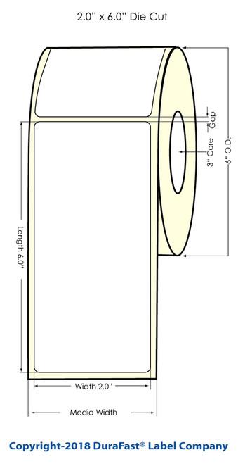 "C6500 2""x6"" NP Inkjet Matte Paper Label 400/Roll 6"" OD"