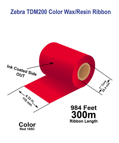 """Zebra 4.33"""" x 984 feet RED 185C TDM200 Wax/Resin Color Ribbon with Ink OUT"""