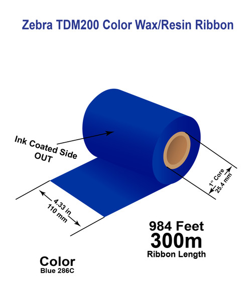 """Zebra 4.33"""" x 984 feet BLUE 286C TDM200 Wax/Resin Color Ribbon with Ink OUT 