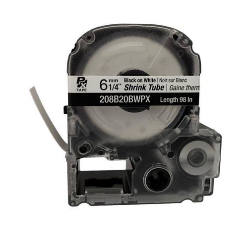 """Epson 208B20BWPX 8MM 1/4"""" AWG  6-18 BLACK ON WHITE SHRINK TUBE 98"""""""
