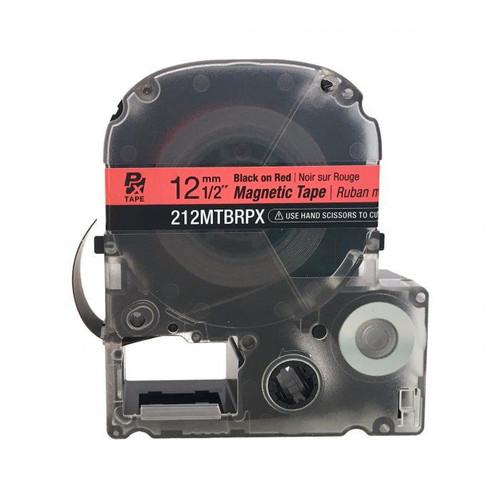"""Epson 212MTBRPX-4.9 12MM 1/2"""" X 4.92' BLACK ON RED MAGNET TAPE"""