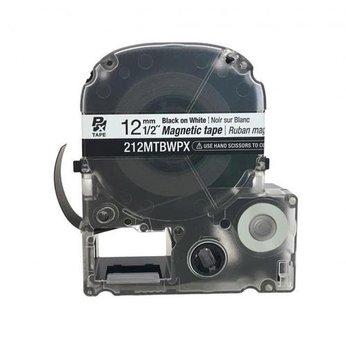 """Epson 212MTBWPX-4.9 12MM 1/2"""" X 4.92' BLACK ON WHITE MAGNET TAPE"""