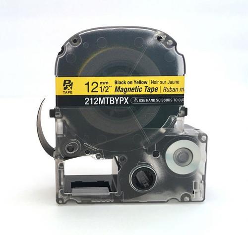 "Epson 212MTBYPX-4.9 12MM 1/2"" X 4.92' BLACK ON YELLOW MAGNET TAPE"