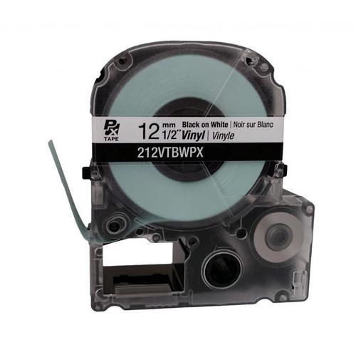 """Epson 212VTBWPX 12MM 1/2"""" X 22.9' BLACK ON WHITE VINYL TAPE"""