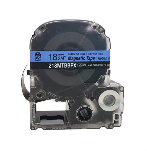 "Epson 218MTBBPX-4.9 18MM 3/4"" X 4.9' BLACK ON BLUE MAGNET TAPE"
