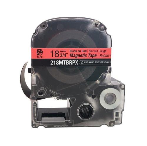 """Epson 218MTBRPX-4.9 18MM 3/4"""" X 4.9' BLACK ON RED MAGNET TAPE"""