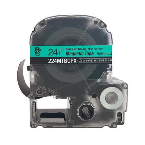 "Epson 224MTBGPX-4.9 24MM 1"" X 4.9' BLACK ON GREEN MAGNET TAPE"