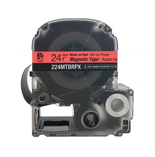 """Epson 224MTBRPX-4.9 24MM 1"""" X 4.9' BLACK ON RED MAGNET TAPE"""
