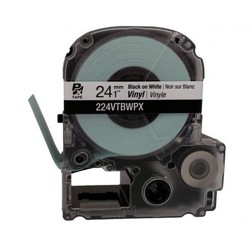 """Epson 224VTBWPX 24MM 1"""" X 22.9' BLACK ON WHITE VINYL TAPE"""
