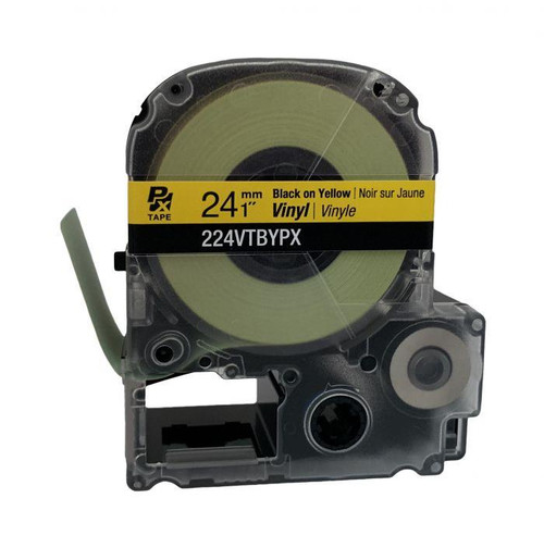 "Epson 224VTBYPX 24MM 1"" X 22.9' BLACK ON YELLOW VINYL TAPE"