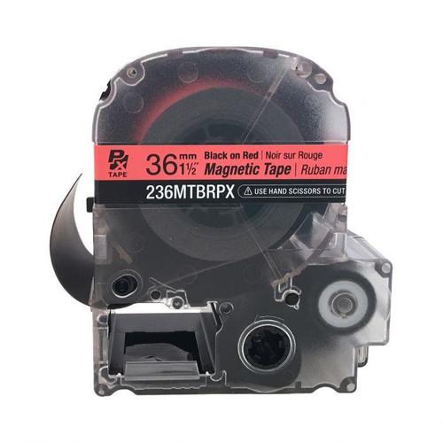 """Epson 236MTBRPX-4.9 36MM 1-1/2"""" X 4.92' BLACK ON RED MAGNET TAPE"""