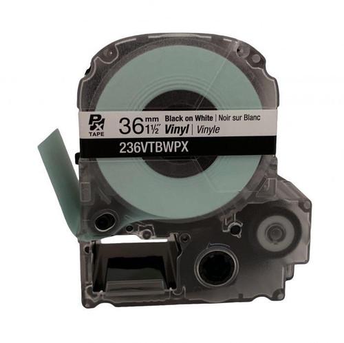 """Epson 236VTBWPX 36MM 1-1/2"""" X 22.9' BLACK ON WHITE VINYL TAPE"""