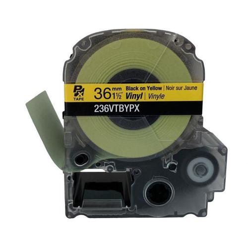 "Epson 236VTBYPX 36MM 1-1/2"" X 22.9' BLACK ON YELLOW VINYL TAPE"