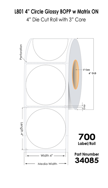 "L801 4"" Circle Glossy BOPP w Matrix ON 6"" OD (34085)"