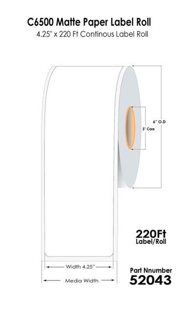 """C6500 4.25"""" x 220 Ft Matte Paper Label Roll (52043)"""