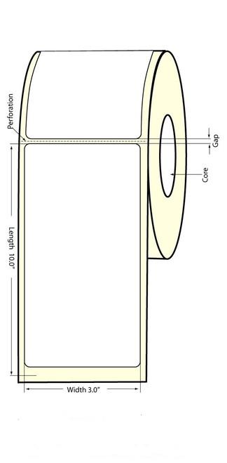 "TM-C3500 3"" x 10"" (1A) High Gloss Paper Label 110/Roll"