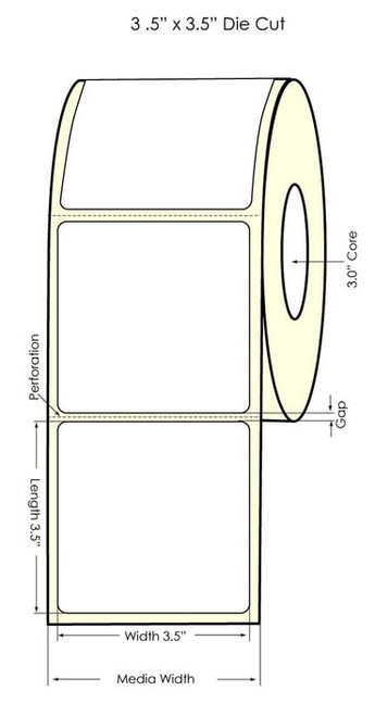 "LX900 3.5"" x 3.5"" High Gloss Paper Labels 650/Roll (931009)"