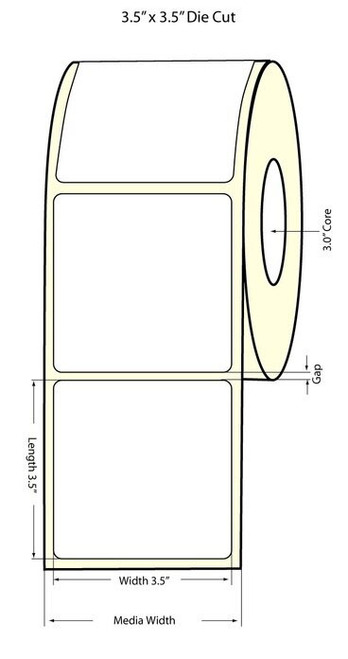 """LX900 3.5"""" x 3.5"""" NP High Gloss Paper Labels 650/Roll (74894)"""