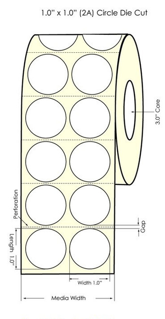 """LX900 1"""" Circle (2UP) High Gloss Paper Labels 4000/Roll (931006)"""
