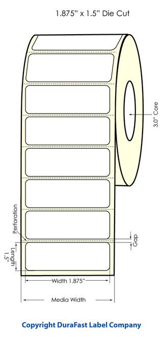 "LX900 1.875"" x 1.5"" High Gloss Paper Labels 1500/Roll"