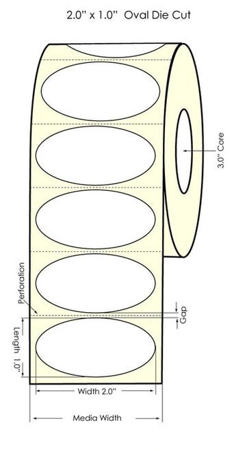 "Primera LX900 2"" x 1"" Oval High Gloss Labels"